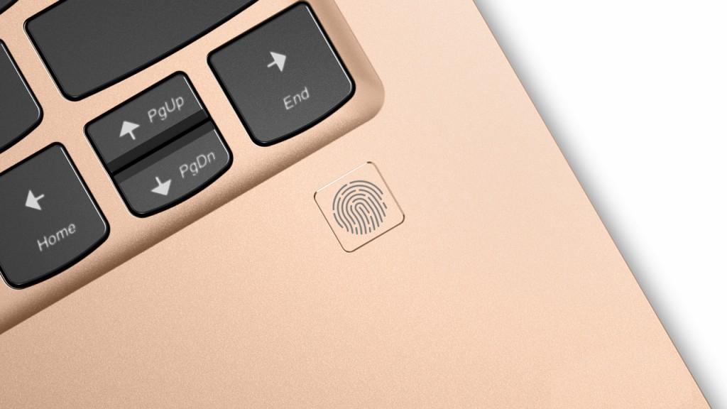 Close-up of Yoga 920 fingerprint reader